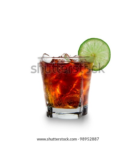 Cola glass over white background
