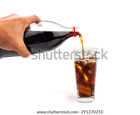 cola glass with ice cubes - stock photo