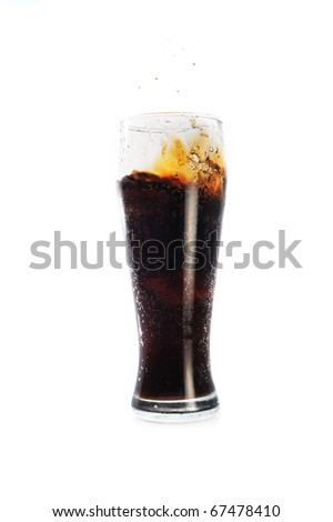 cola  in glass close up - stock photo