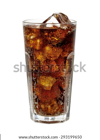 Cola in glass with ice cubes on white background including clipping path - stock photo