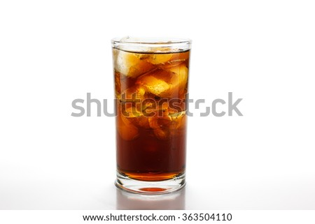 Cola in glass with ice on white background with clipping path  - stock photo