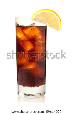 Cola in highball glass with lemon slice. Isolated on white background - stock photo