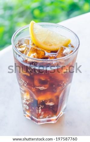 Cola lemon glass - stock photo