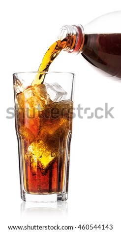 Cola poured into glass with ice isolated on white background
