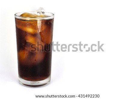 cola soda pop with ice in tall glass on white background