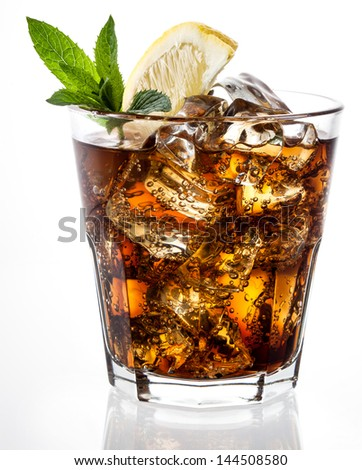 cola with ice and lemon on white - stock photo