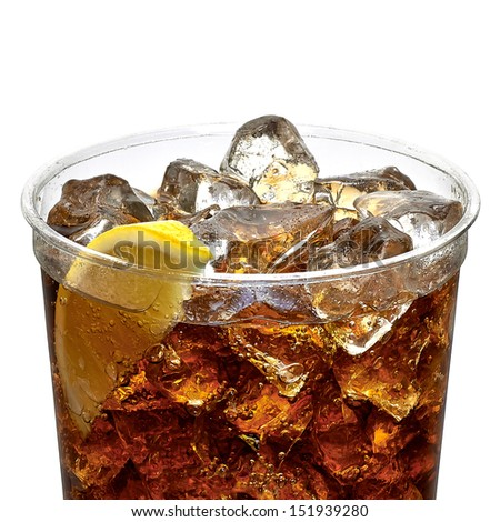 Cola with ice and lemon slice in takeaway cup on white background