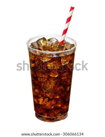 Cola with ice and straw in takeaway cup isolated on white background including clipping path - stock photo