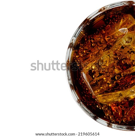 cola with ice close up - stock photo
