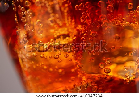 cola with ice closeup - stock photo