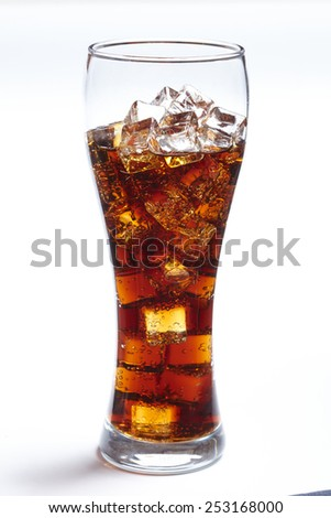 cola with ice cubes - stock photo
