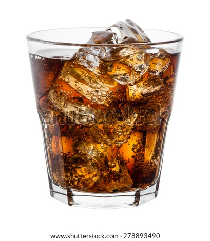 Cola with ice cubes on white. With clipping path