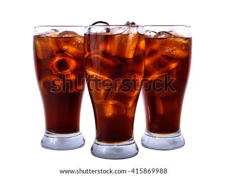 Cola with ice cubes ,Placed on a white background. - stock photo
