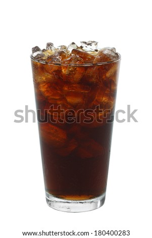 Cola with ice cutout, isolated on white background