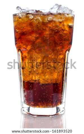 Cola with ice in a glass isolate on white background .