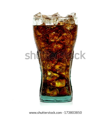 Cola with ice in glass from side on white background - stock photo
