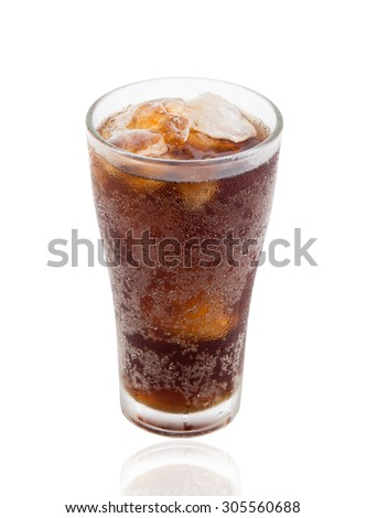 Cola with ice in take away cup isolated on white background - stock photo