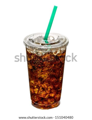 Cola with ice in takeaway cup isolated on white background - stock photo