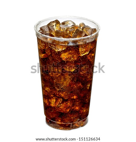 Cola with ice in takeaway cup on white background - stock photo