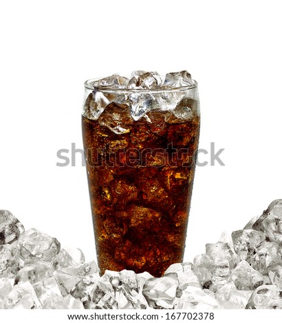 Cola with ice pile on white background - stock photo