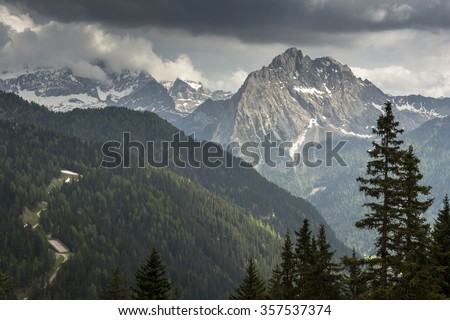 Colac view of a peak in the Dolomites in the Alps. - stock photo