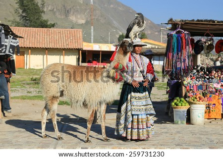 Colca Canyon Peru - April 17 2014, Peruvian woman in traditional dress standing with her Lama and Condor.