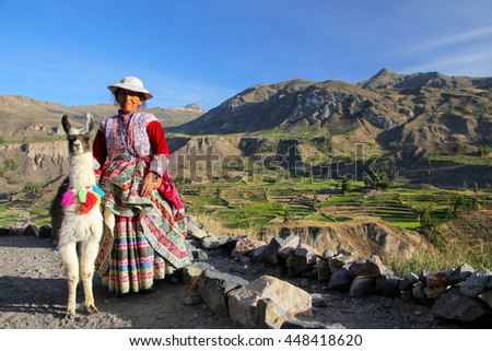 COLCA CANYON, PERU-JANUARY 16: Unidentified woman in traditional dress stands with llama on January 16, 2015 in Colca Canyon, Peru. It is one of the deepest canyons in the world with a depth of 3270 m