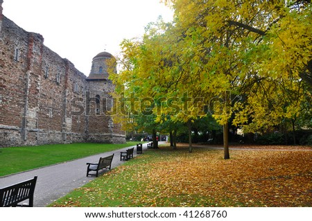 Colchester Castle in the fall - stock photo