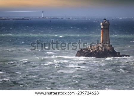 Cold afternoon with lighthouse, france, atlantic ocean