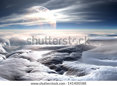 Cold and Icy Fantasy Alien Landscape - Computer Artwork - stock photo