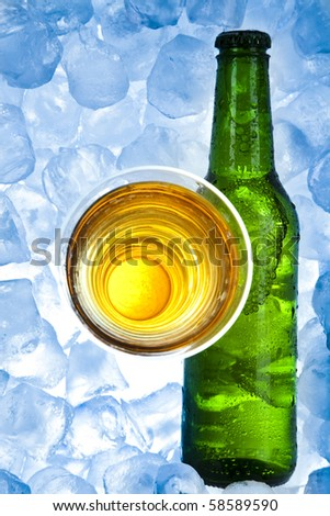 Cold beer bottle - stock photo