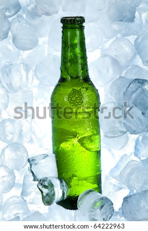 Cold beer bottle, ice beer - stock photo