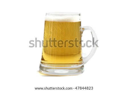 Cold beer glass isolated on white background