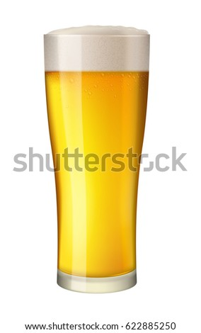 Cold beer in tall glass. Alcohol beverage in mug. Pint of gold lager with foam. Pub symbol. Excellent photo-realistic  illustration isolated on white background