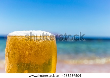 Cold beer on a background of the sea - stock photo