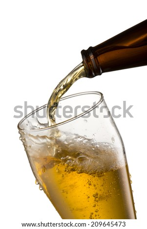 Cold Beer Pour from Bottle