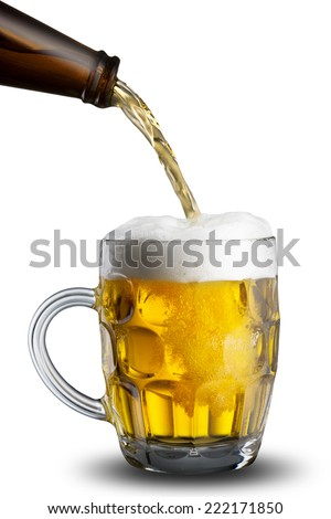 Cold Beer Pour from Bottle to Glass