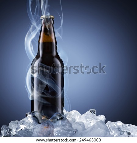 Cold Beer With Chill Smoke - stock photo