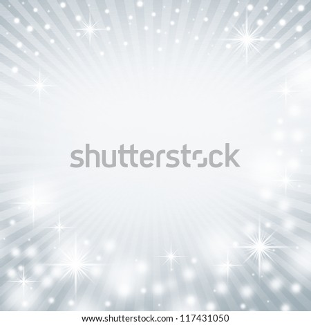 cold blue abstract christmas background texture with delicate rays and beams of light and snow flakes - stock photo