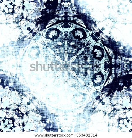 Cold blue indian pattern, floral circle with tribal traditional elements. Luxury Christmas texture, frozen snowflake. Boho textile background, oriental ethnic carpet - stock photo