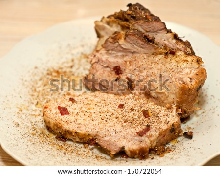cold boiled pork in white plate