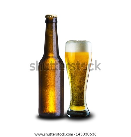 Cold Bottle and Glass of beer on white background