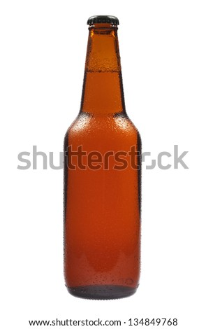 Cold bottle of beer