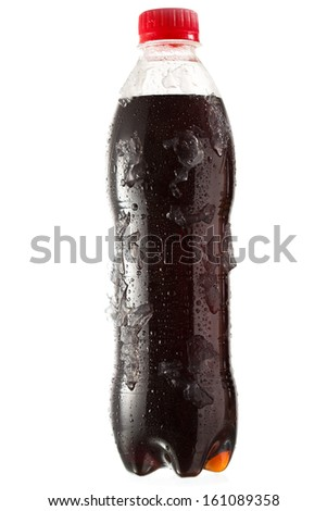 cold bottle of cola with ice on white background - stock photo