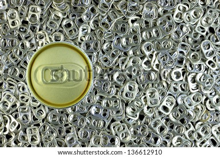 Cold can on ring pulls, bird eye view - stock photo
