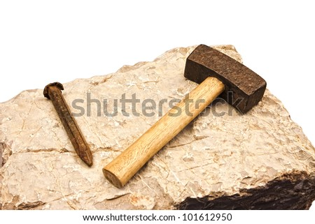 Cold chisel and hammer - stock photo