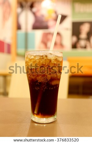 Cold cola in glass,drink for stop thirsty.