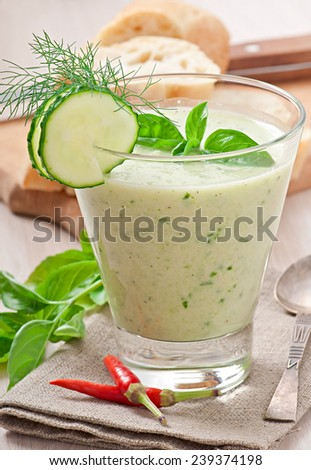 Cold cucumber soup with basil