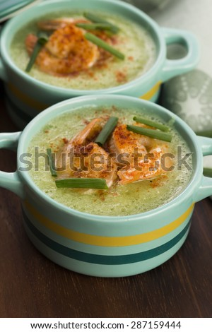 cold cucumber soup with herbs and shrimps