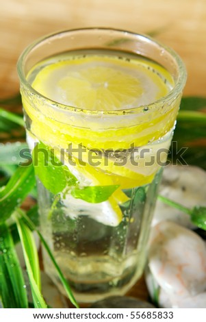 Cold drink with lemon slice - stock photo